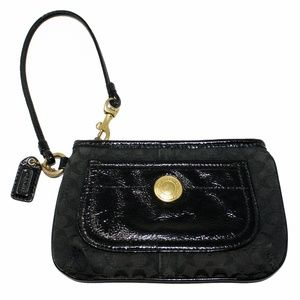 Coach Black Wristlet Wallet Fabric/Patent Leather